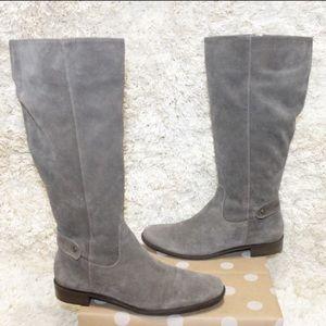 Talbots Corey 2 Gray Suede Knee High Zip Up Boots